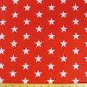 Red Polycotton Fabric 27mm Stars