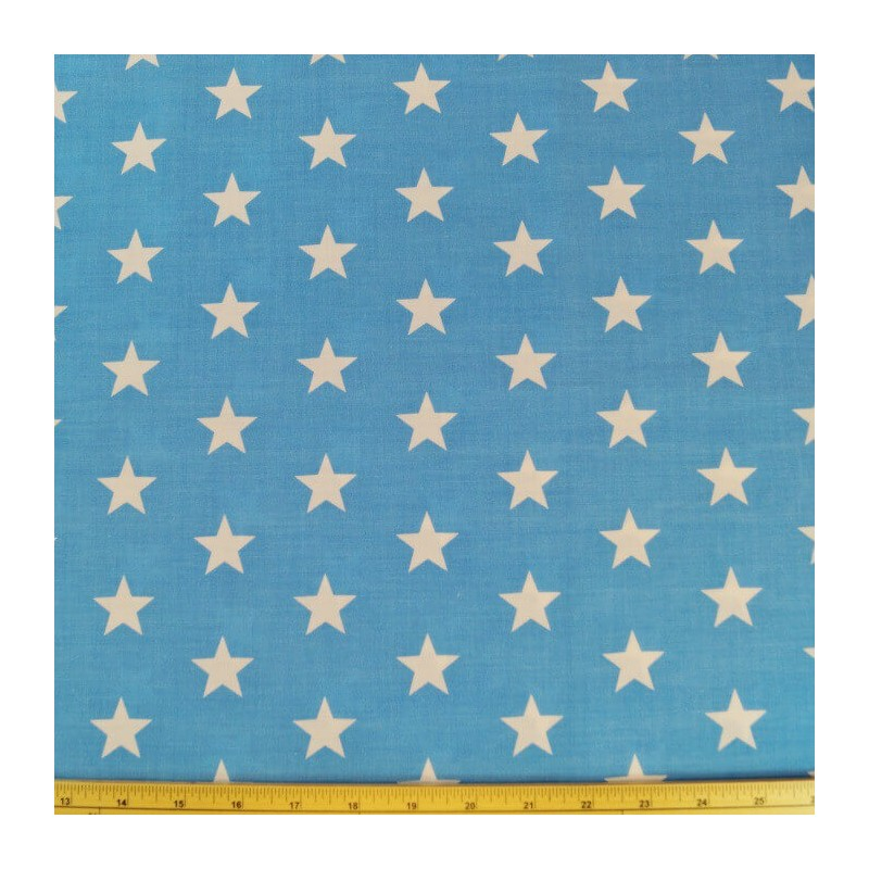 Blue Polycotton Fabric 27mm Stars