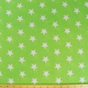 Lime Green Polycotton Fabric 27mm Stars