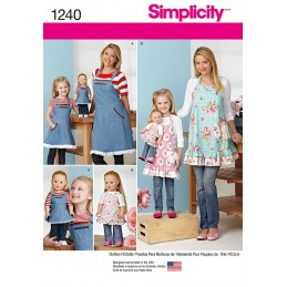 "Aprons for Misses, Children and 18"" Doll Simplicity Craft Sewing Patterns 1240"