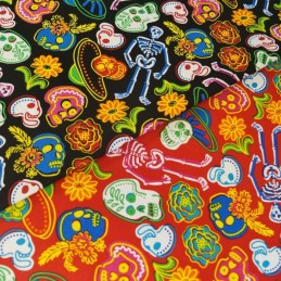 Sugar Skulls Skeletons & Flowers 100% Cotton Fabric