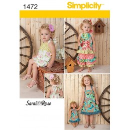 """Toddlers Romper, Dress, Top, Pants & 18"""" Doll Dress Simplicity Pattern 1472"""