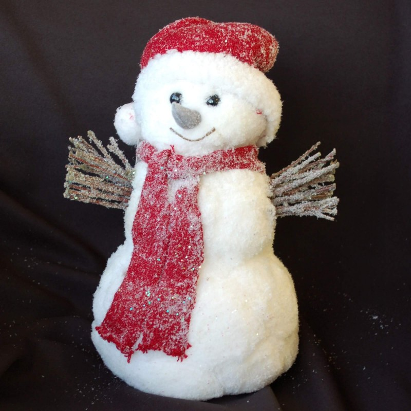 Decorative Glitter Christmas Frosted White Snowman