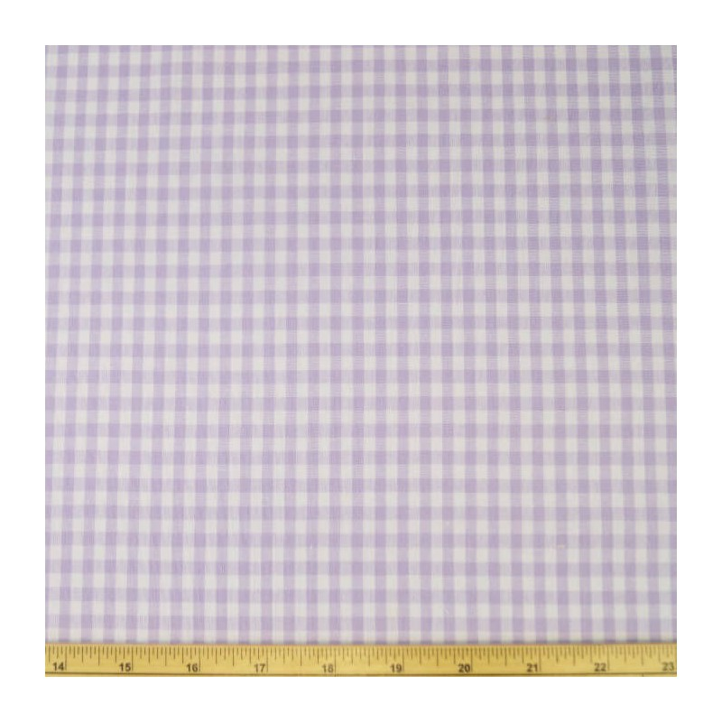 "Lilac 1/4"" Mini Check Gingham Squares 140cm 100% Cotton Fabric"