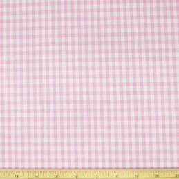 "Pink 1/4"" Mini Check Gingham Squares 140cm 100% Cotton Fabric"
