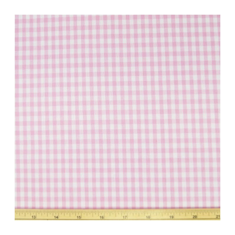"Pink 1/4"" Mini Check Gingham Squares 140cm 100% Cotton Fabric"