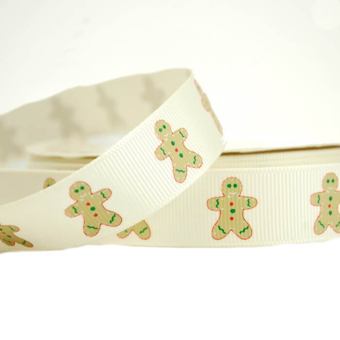Christmas Festive Gingerbread Man 19mm Grosgrain Ribbon In White And Red