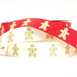 2m Christmas Festive Gingerbread Man 19mm Grosgrain Ribbon In White And Red