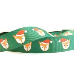 Christmas Festive Santa Fox 19mm Grosgrain Ribbon In Green And Blue