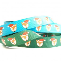Christmas Festive Santa Fox 19mm Grosgrain Ribbon In Green And Blue