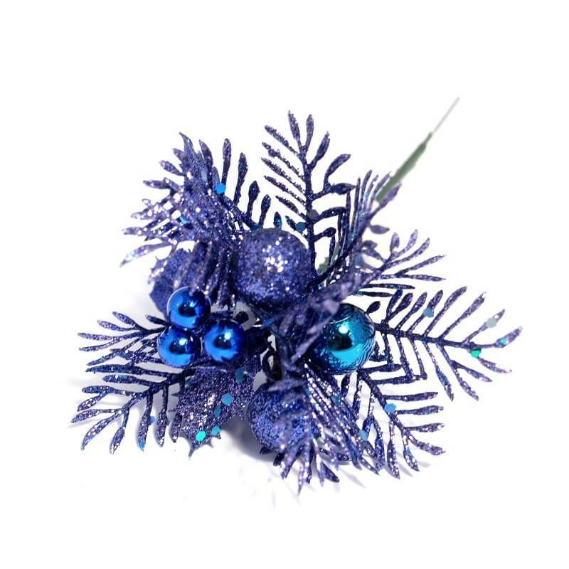 2x Christmas Festive Blue Glitter Ball And Berry Bunch Flower