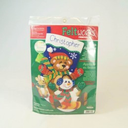 Tapestry Cross Stitch Christopher Christmas Tobaggan Trio Stocking Felt Applique Craft Kit