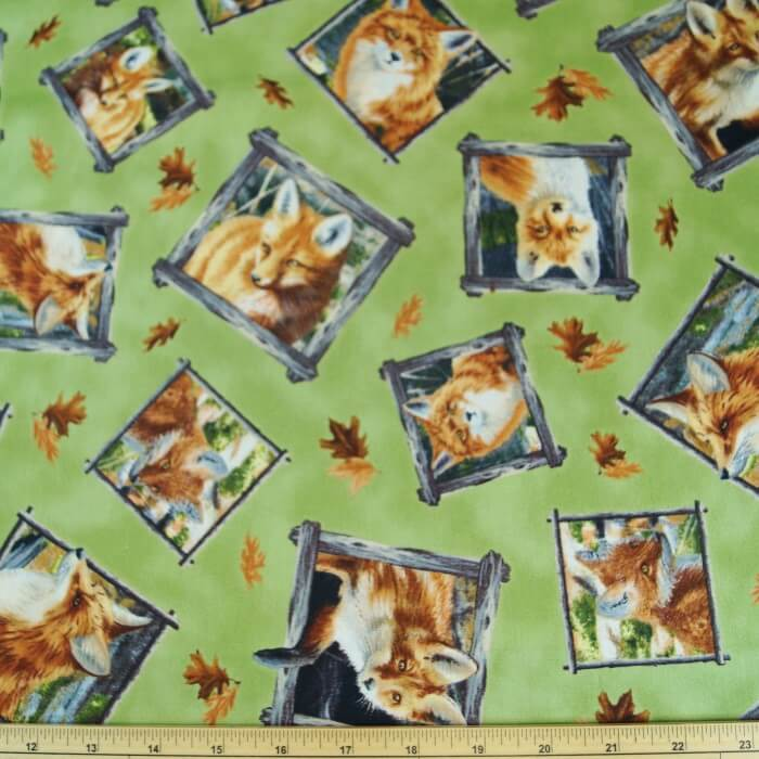 Out Of The Den Fox Faces In Squares Green 100% Cotton Dress Fabric