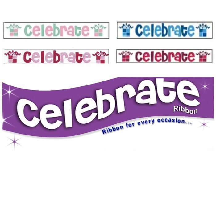25mm x 3m Celebrate Party Birthday Ribbon Multi Colour Celebration