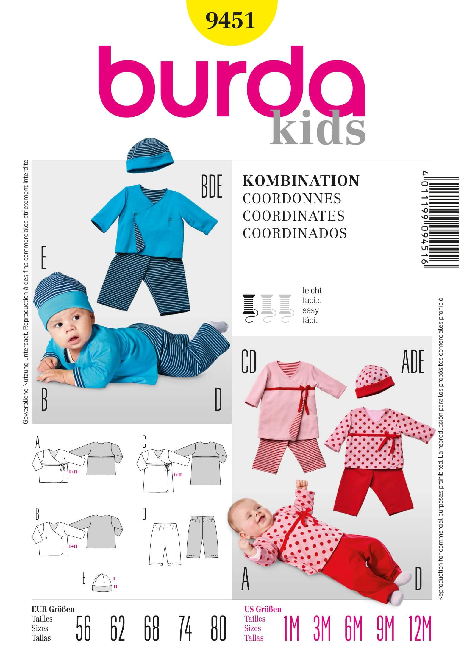 Burda Kids Baby Top Trousers Hat Fabric Sewing Pattern 9451