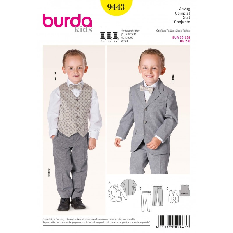 Burda Kids Boys Jacket Trousers Waistcoat Fabric Sewing Pattern 9443