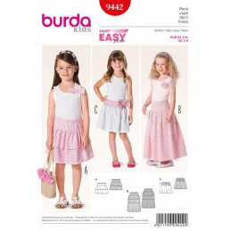 Burda Kids Girls Gypsy Skirts Tulle Fabric Sewing Pattern 9442