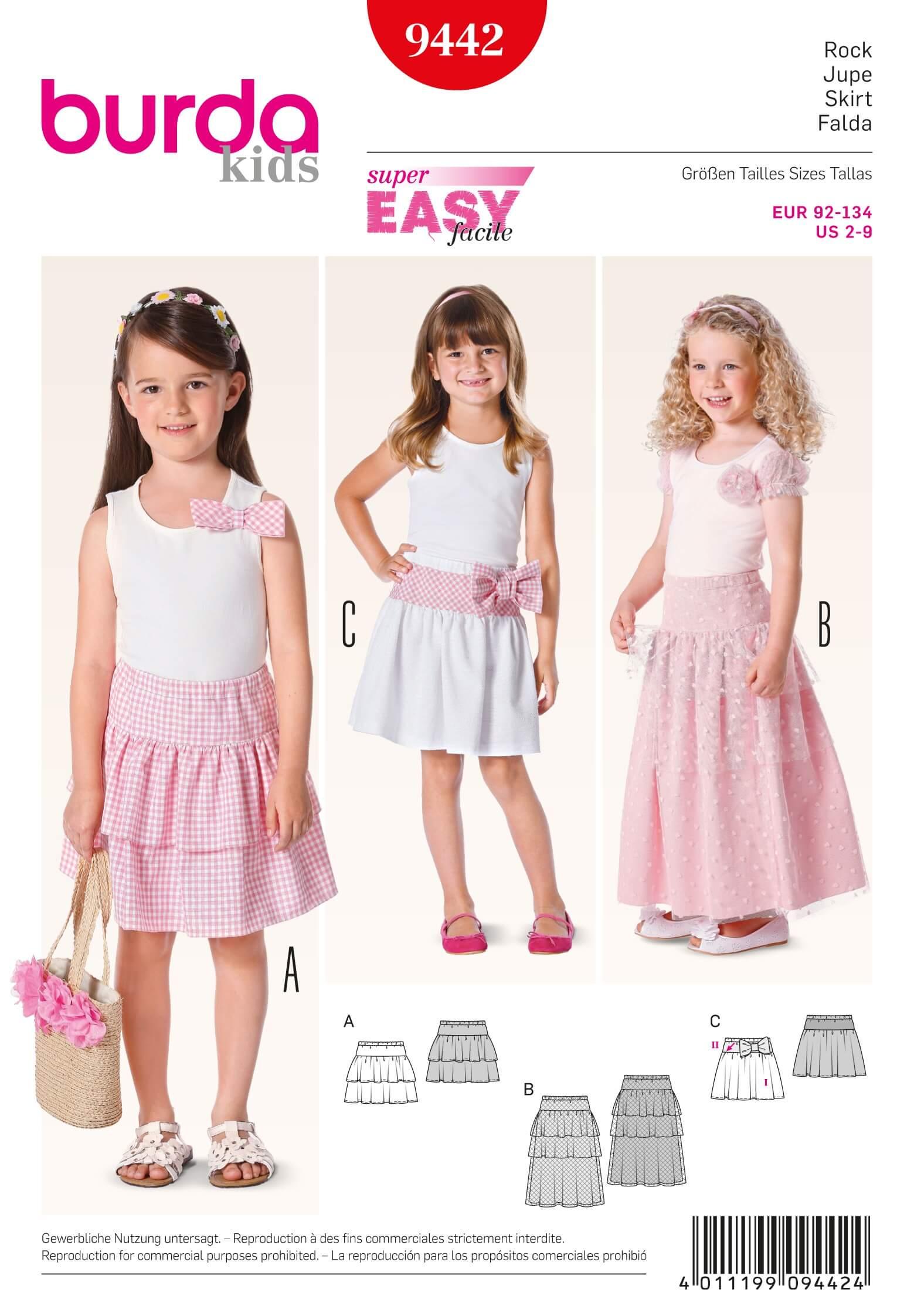 Burda Kids Girls Gypsy Skirts Tulle Fabric Sewing Pattern 9442
