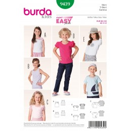 Burda Kids Girls Sleeved & Sleeveless Tops Fabric Sewing Pattern 9439