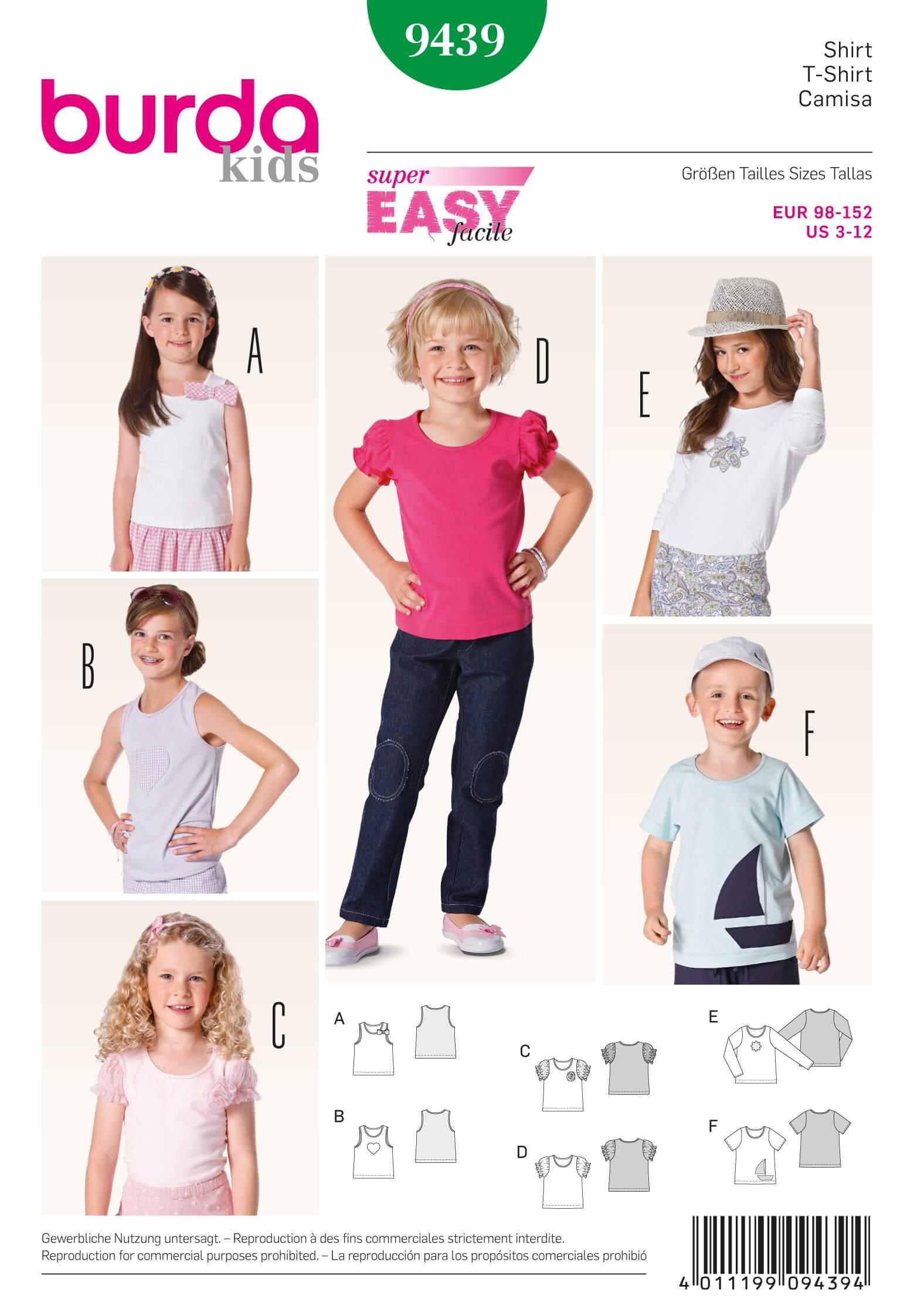 Burda Kids Girls Sleeved & Sleeveless Tops Fabric Sewing Pattern 9439