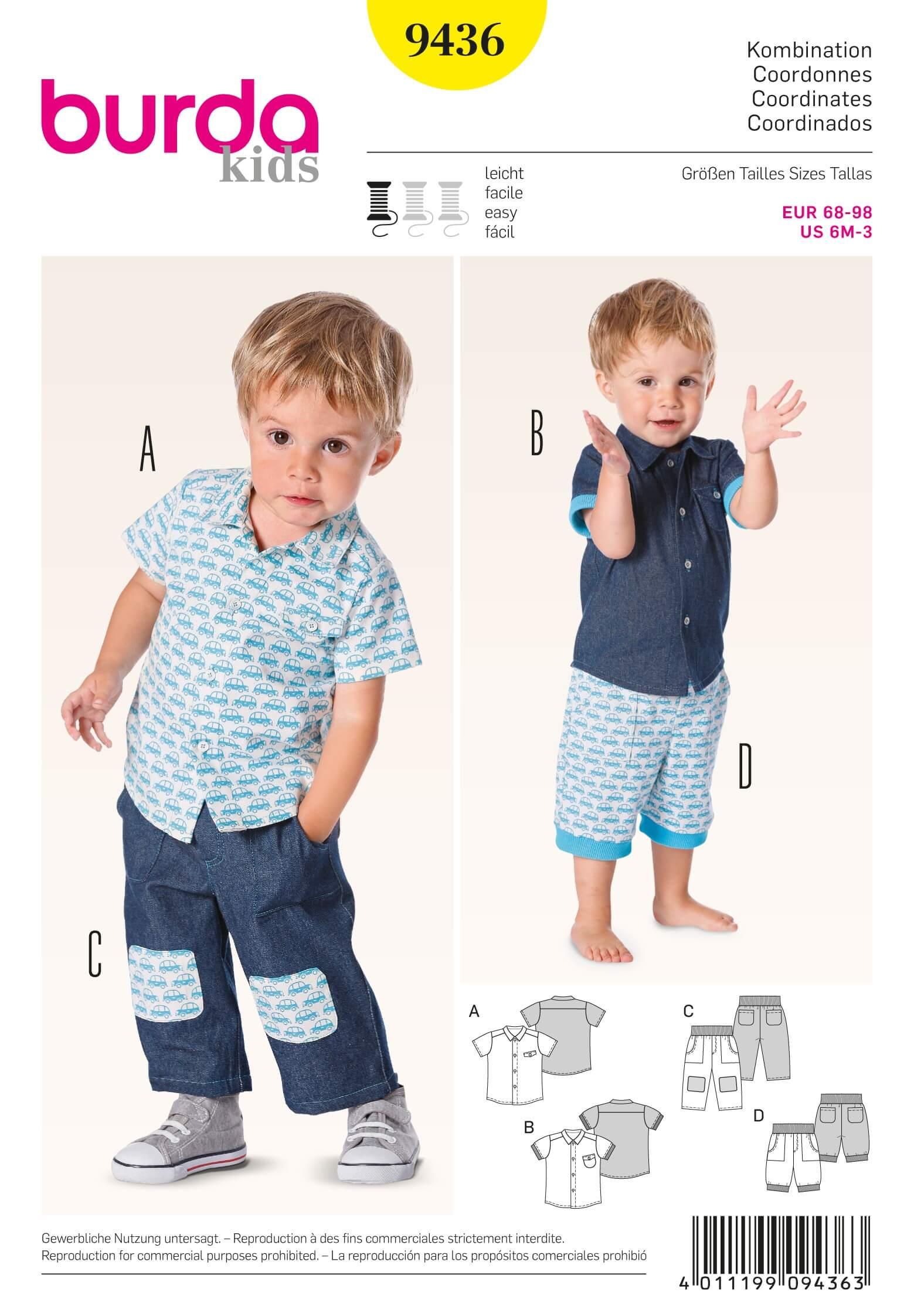 Burda Kids Boys Shirts Trousers Fabric Sewing Pattern 9436