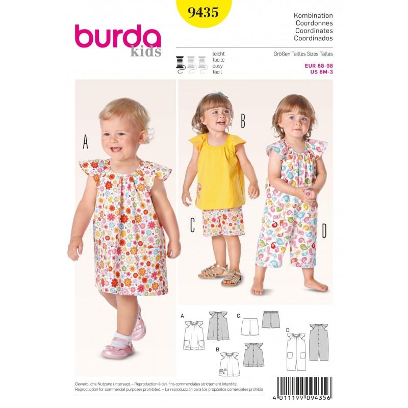 Burda Kids Toddler Dress Top Shorts Playsuit Fabric Sewing Pattern ...