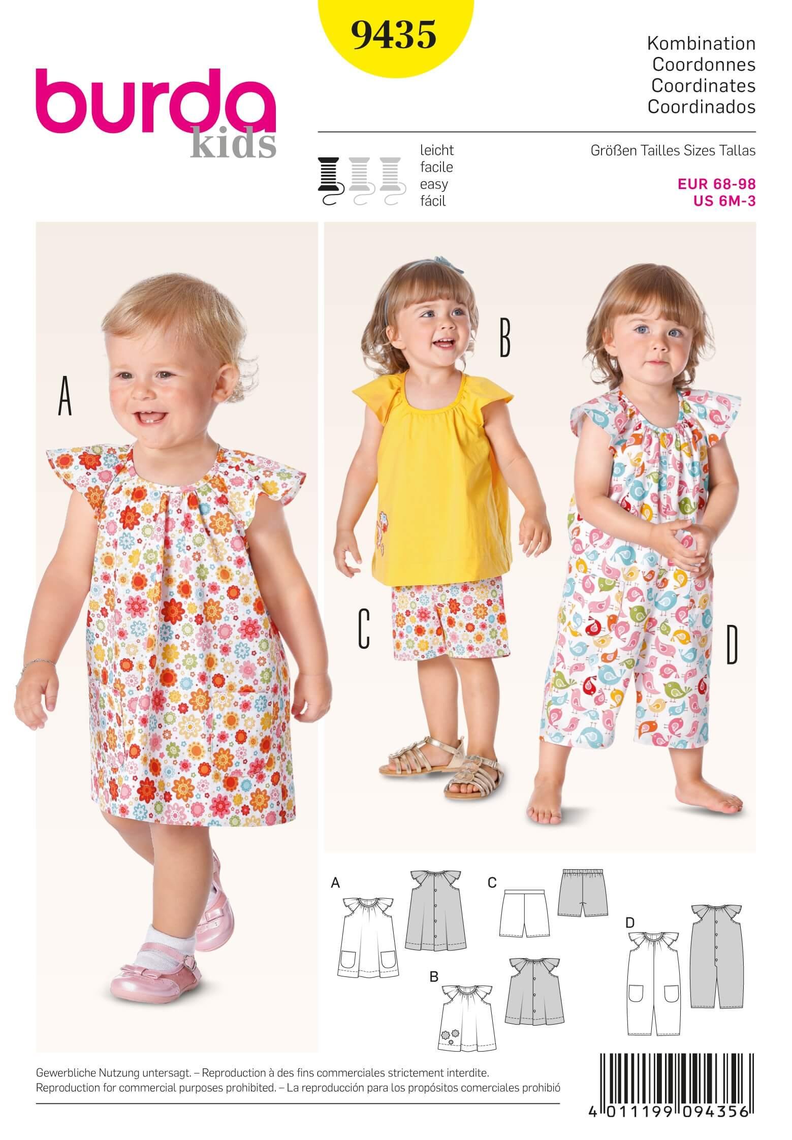 Burda Kids Toddler Dress Top Shorts Playsuit Fabric Sewing Pattern 9435