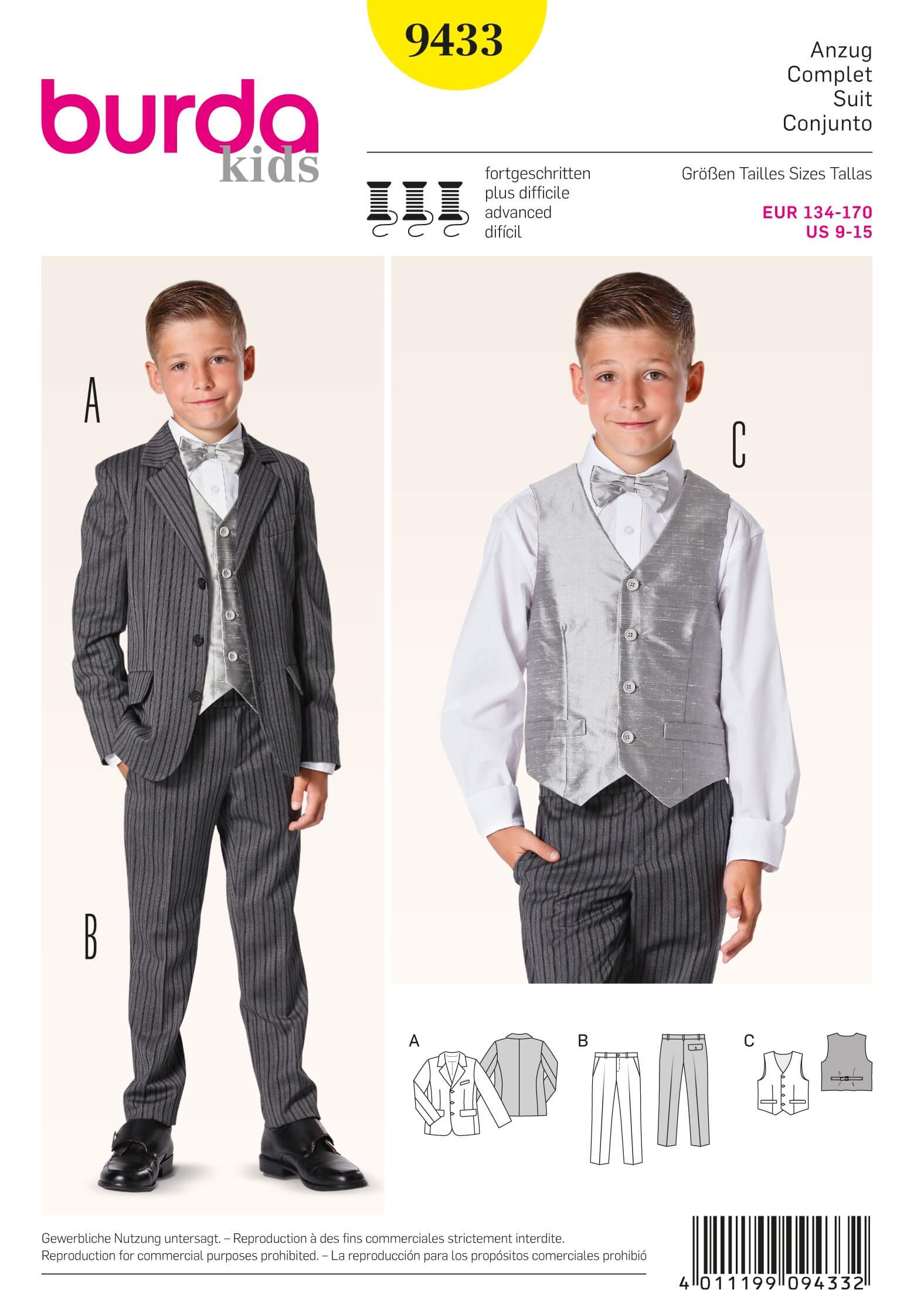 Burda Kids Boys Evening Wear Suit Fabric Sewing Pattern 9433