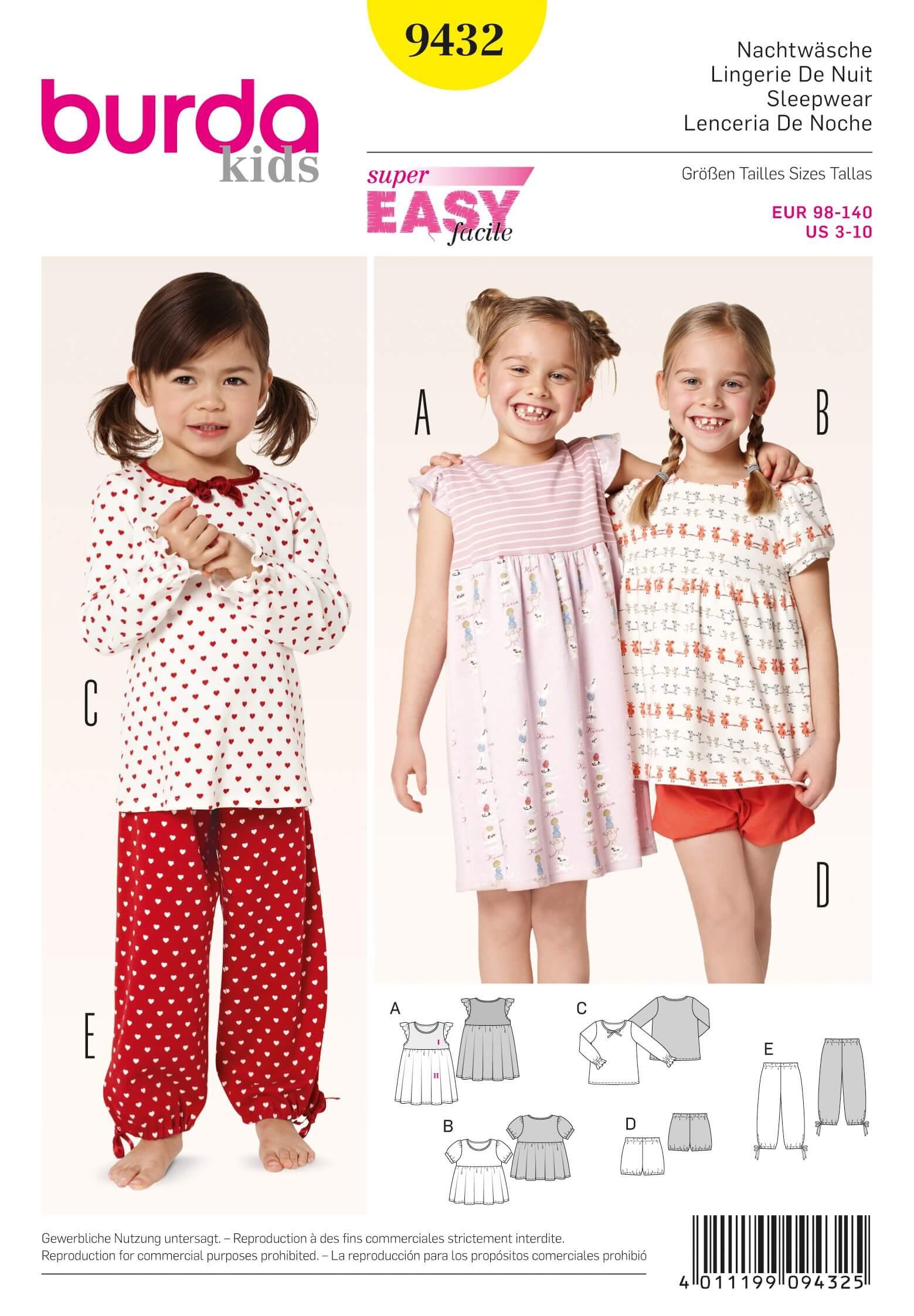 Burda Kids Girls Sleepwear PJs Fabric Sewing Pattern 9432