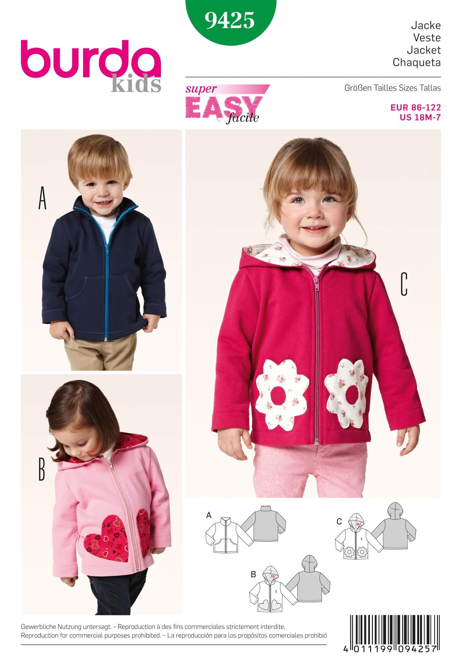 Burda kids jacket trio fabric sewing pattern 9425 jeuxipadfo Choice Image