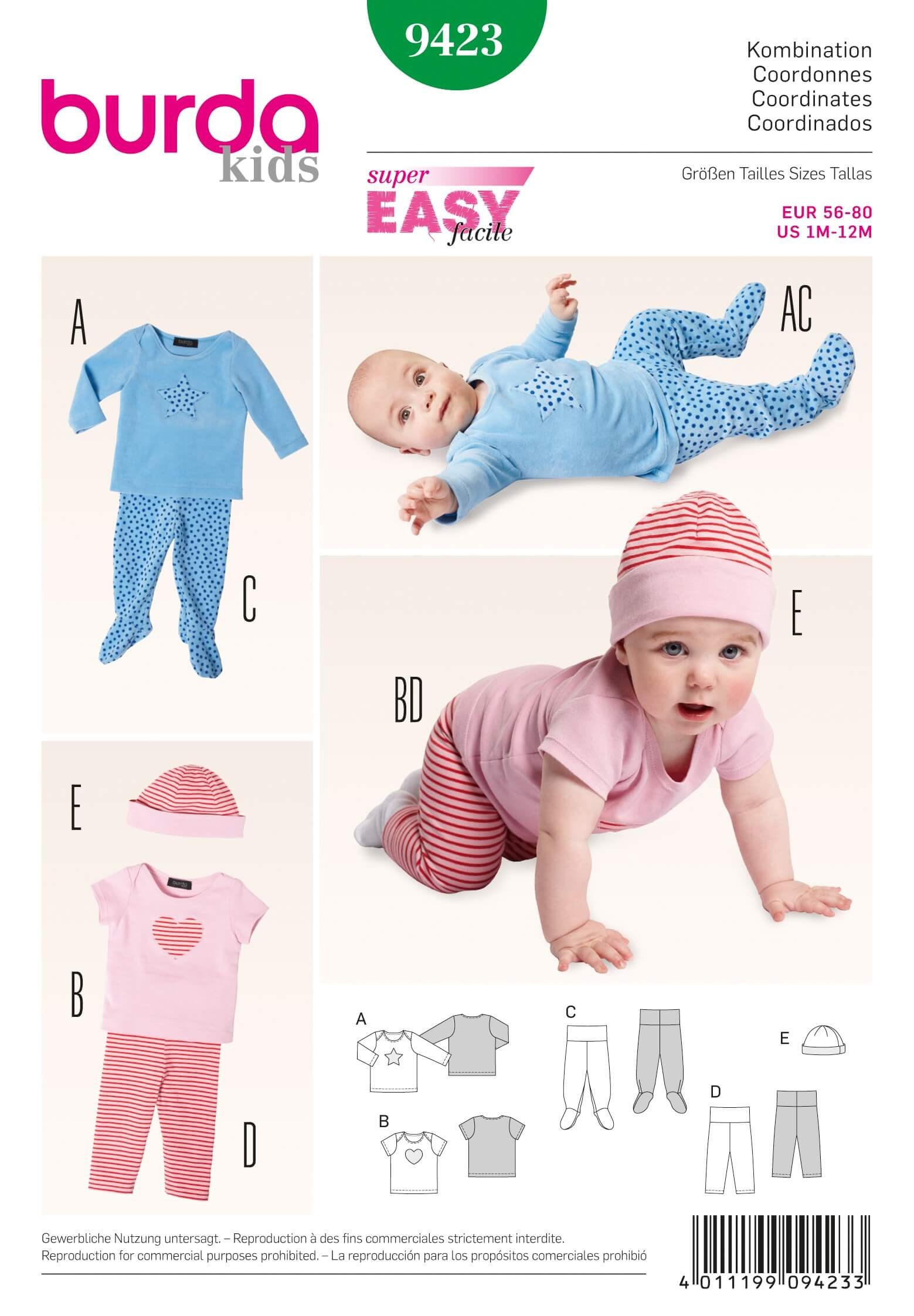 Burda Kids Baby Trousers Top Hat Fabric Sewing Pattern 9423