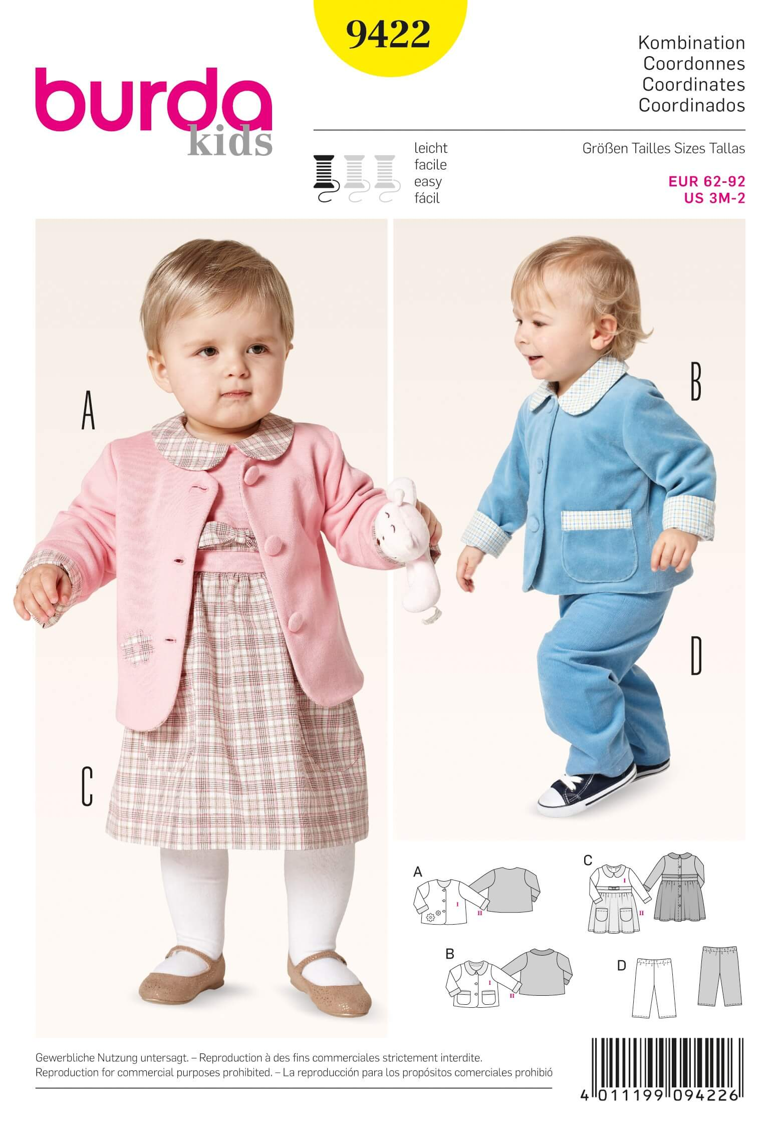 Burda KidsBaby Toddler  Jacket Dress Trousers Fabric Sewing Pattern 9422