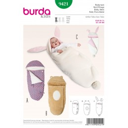Burda Kids Baby Nest Blanket Wrap Fabric Sewing Pattern 9421