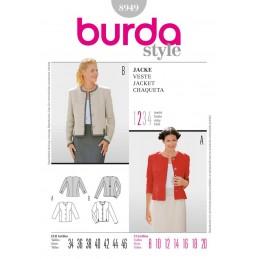 Burda Style Collarless Short Jacket Fabric Sewing Pattern 8949