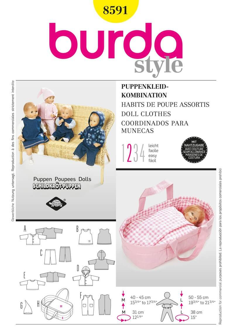 Burda Dolls Clothes Acessories Fabric Sewing Pattern 8591
