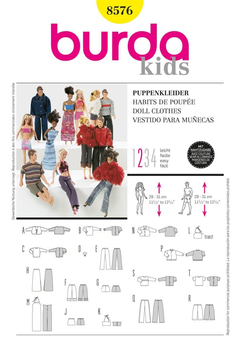 Burda Him & Her Dolls Clothes Acessories Fabric Sewing Pattern 8576