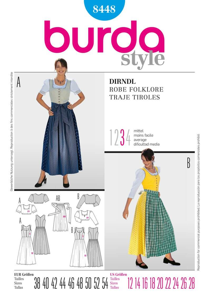 Burda Dirndll Dress Fabric Sewing Pattern 8448