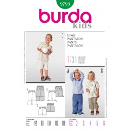 Burda Kids Boys Trouser Trio Fabric Sewing Pattern 9793