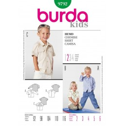 Burda Kids Boys Shirt Trio Fabric Sewing Pattern 9792