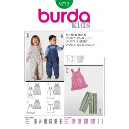 Burda Kids Dungarees Pinafore Trousers Fabric Sewing Pattern 9772