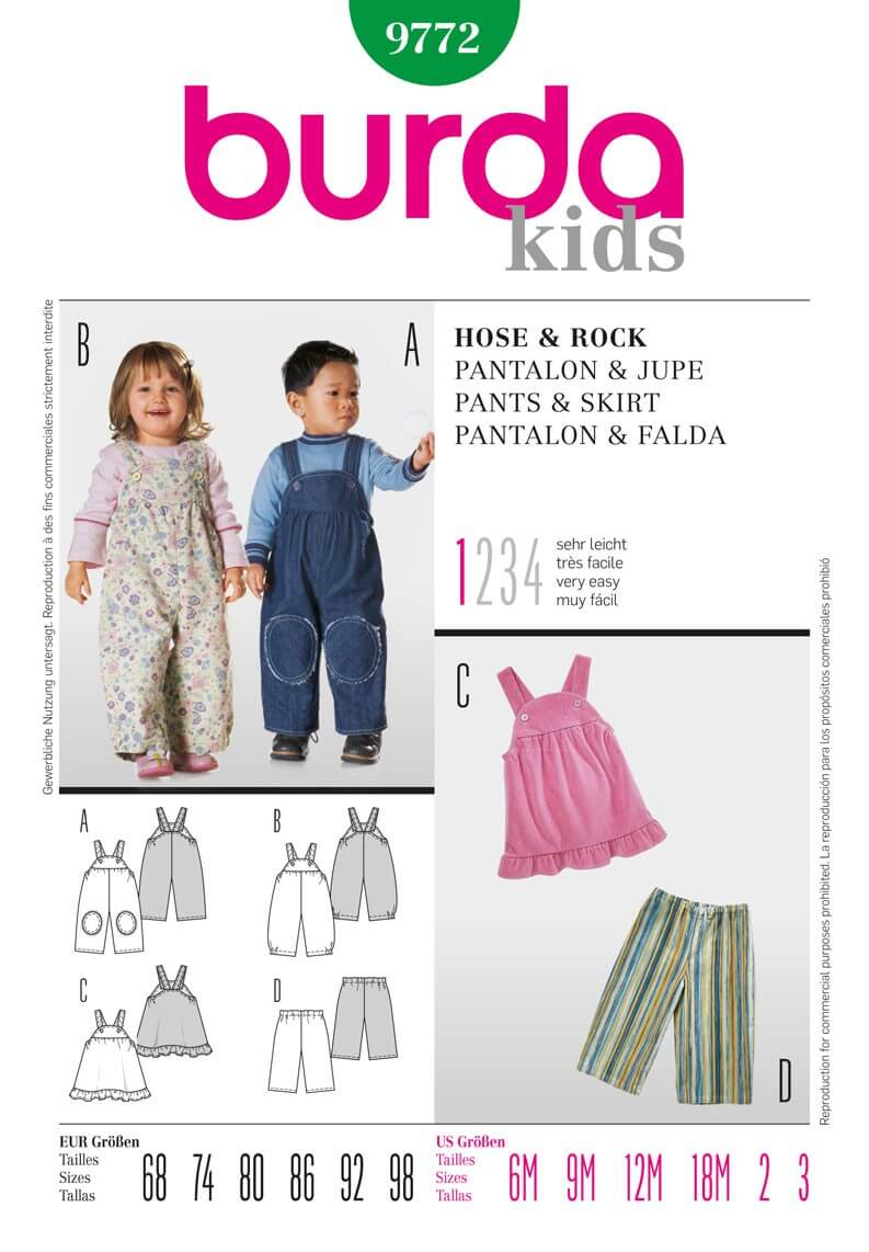 Burda Kids Dungarees Pinafore Trousers Fabric Sewing Pattern 9772