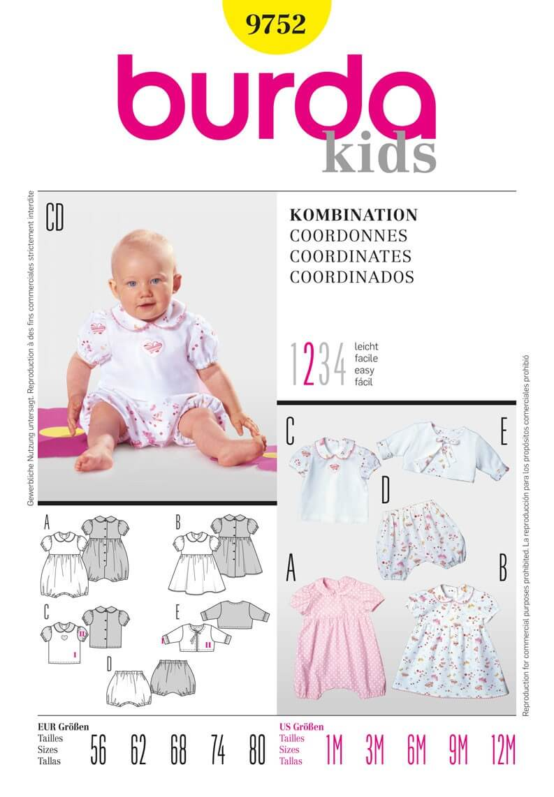 Burda Kids Baby All In One Pantaloon Dress Fabric Sewing Pattern 9752