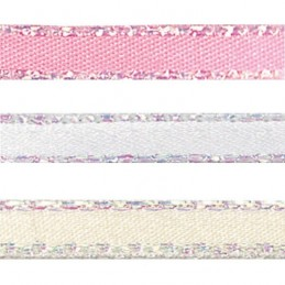 15mm x 2m, 5m or 20m Berisfords Iridescent Edge Satin Polyester Craft Ribbon