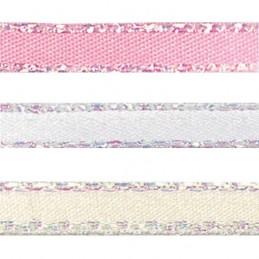 5mm x 2m, 5m or 20m Berisfords Iridescent Edge Satin Polyester Craft Ribbon