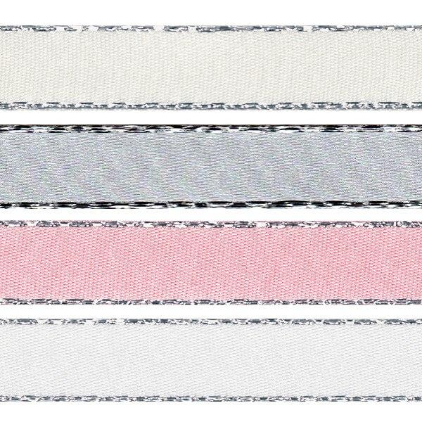 3mm x 2m, 5m or 20m Berisfords Metallic Edge Satin Polyester Craft Ribbon