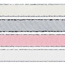 7mm x 2m, 5m or 20m Berisfords Metallic Edge Satin Polyester Craft Ribbon