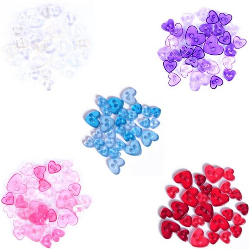 1.5g Pack Love Heart Acrylic Plastic Transparent Craft Buttons