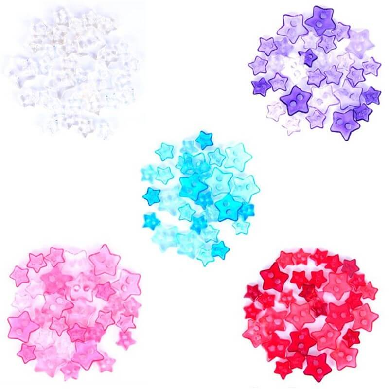 1.5g Pack Mini Stars Acrylic Plastic Transparent Craft Buttons