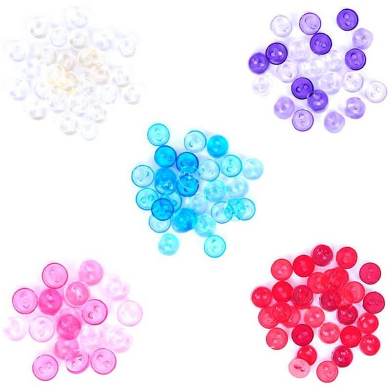 1.5g Pack Mini Circular Acrylic Plastic Transparent Craft Buttons
