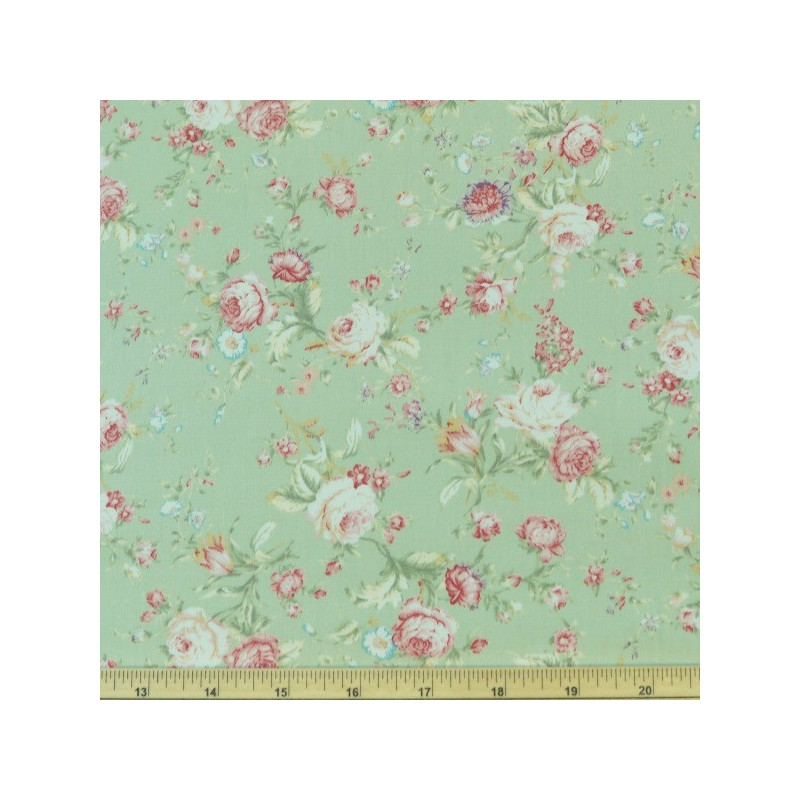 Green 100% Cotton Poplin Fabric Rose & Hubble Roses Bunches Flower Of Love